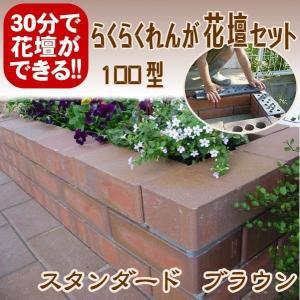 レンガ ガーデニング スタンダードブラウン らくらくれんが花壇セット100型 +穴あき半マス2個付き o-tamatebako