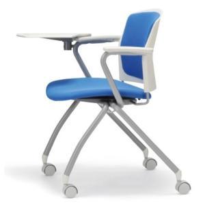 テーブル付き椅子 メモ台付きチェア MC-393TW(両肘、キャスター付)|oaks-net