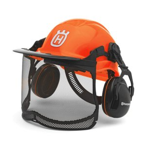 チェンソー用ヘルメット オレンジ H5764-12401 ハスクバーナ イヤマフ メッシュガード付き|oasisu