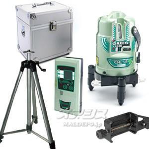 ヤマシン(山真製鋸) グリーンレーザー墨出し器 (大矩ライン有) 三脚・受光器付き GL-4+W