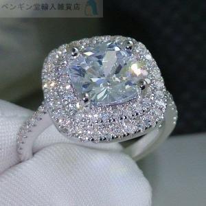 新品/10号 高級 5Aクラス CZダイヤモンド シルバー925 エンゲージリング 婚約指輪 CZダ...