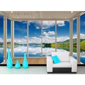 3D 壁紙 1ピース 1m2 自然風景 窓 バルコニーからの景色 湖 山 インテリア 装飾 寝室 リ...