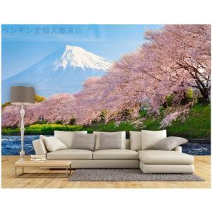 3D 壁紙 1ピース 1m2 自然風景 桜の景色 富士山 和風 インテリア 装飾 寝室 リビング h...