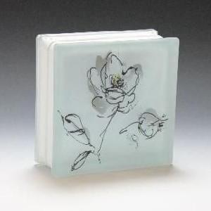 ガラスブロック サイズ 190×190×80 おしゃれな花柄|obara-jyusetu