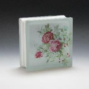 ガラスブロック サイズ 190×190×80 花柄(赤)|obara-jyusetu