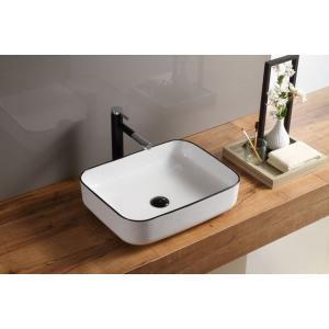 おしゃれな角型(陶器)の洗面ボウル、排水栓、排水Sトラップセット。 トイレ、洗面所、屋外手洗い場など...
