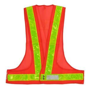 安全ベスト 反射ベスト オレンジメッシュ/黄ライン 反射ライン幅:50mm|obari