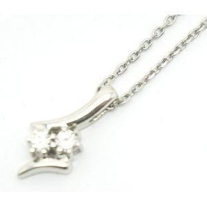 中古 良品 プラチナ ダイヤモンドネックレス Pt850 0.16ct|obatays