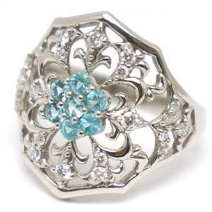 中古 美品 トルマリン × ダイヤモンド プラチナ リング 11号|obatays