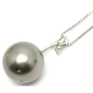 中古 美品 ブラック パール × ダイヤモンド ネックレス ホワイトゴールド 46cm|obatays