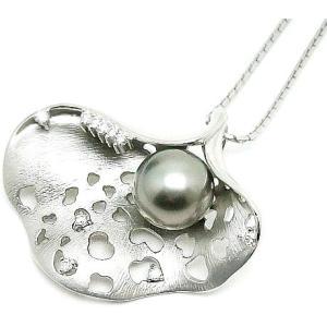 中古良品 パール ダイヤモンド プラチナ×ホワイトゴールド ネックレス|obatays