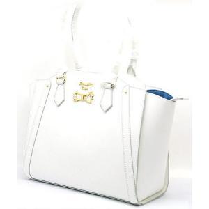 中古 新品同様  Samantha Vega  サマンサベガ リボンモチーフ ハンドバッグ ホワイトカラー|obatays