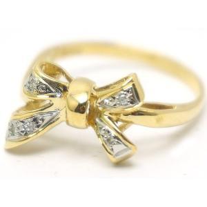 中古 良品 Pt900 K18YGイエローゴールド ダイヤモンド リング リボン 11.5号|obatays