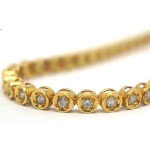 中古 美品 ダイヤ 1カラット使用 テニス ブレスレット イエロー ゴールド|obatays