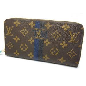 中古 美品 Louis Vuitton ルイヴィトン 長財布 ジッピーウオレット M41895 ノワール×ブルーマリーヌ|obatays