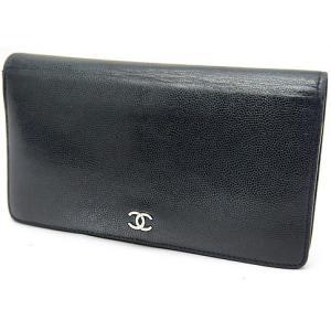 中古 CHANEL シャネル 二つ折り長財布 ソフトキャビアスキン ブラック/シルバー金具 CCロゴ|obatays