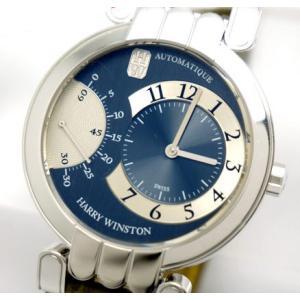 中古良品 正規OH済 HARRY WINSTON ハリーウィンストン メンズ腕時計 プルミエール・エキセンター K18WGホワイトゴールド 200MASR37WLA|obatays