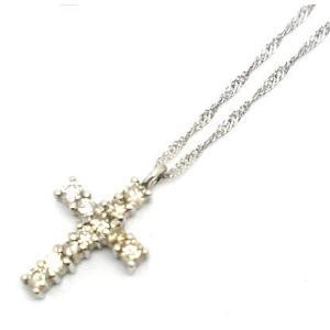 中古 良品 Pt850プラチナ クロスネックレス ダイヤモンド 十字架|obatays