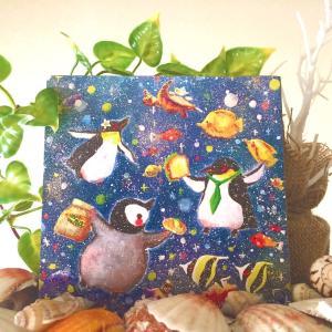 絵画 モダン アートパネル アート インテリア 雑貨 おしゃれ ロココロ ぺんぎん ペンギン アニマル 動物 画家 : 高井 りさ 作品 : 飛べない鳥は泳げる鳥|obeolysco