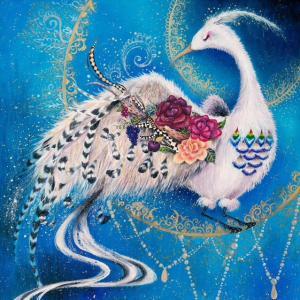 絵画 モダン アートパネル アート インテリア 雑貨 おしゃれ ロココロ 油絵 白鳥 鳥 動物 アニマル 画家 : 黒野 祥絵 作品 : 鳥|obeolysco