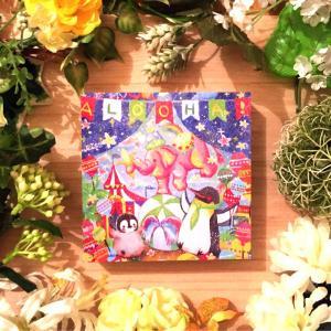 絵画 モダン アートパネル ロココロ ぺんぎん ペンギン 画家 : 高井 りさ 作品 : 玉乗りしながらバナナを食べるピンクのゾウを見たことがある?|obeolysco