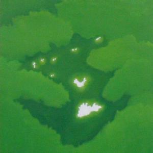 絵画 モダン アートパネル アート インテリア 雑貨 おしゃれ ロココロ 抽象画 現代アート 木洩れ日 木漏れ日 こもれび  画家 : 馬見塚 喜康 作品 : こもれびI obeolysco