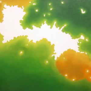 絵画 モダン アートパネル アート インテリア 雑貨 おしゃれ ロココロ 抽象画 現代アート 木洩れ日 木漏れ日 こもれび  画家 : 馬見塚 喜康 作品 : こもれびIV obeolysco