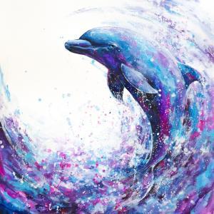 絵画 モダン アートパネル アート インテリア 雑貨 おしゃれ ロココロ 水彩画 いるか イルカ 海豚 海 動物 アニマル  画家 : 平田 幸大 作品 : 飛躍|obeolysco