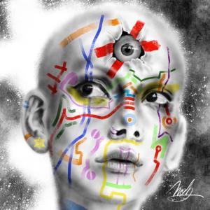 絵画 モダン アートパネル アート インテリア 雑貨 おしゃれ ロココロ 現代アート 人物画  画家 : nob 作品 : Third eye|obeolysco