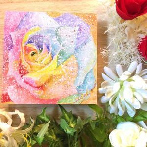 絵画 モダン アートパネル アート インテリア 雑貨 おしゃれ ロココロ 現代アート バラ ばら 薔薇 虹 にじ レインボー 画家 : Rin 作品 : Rainbow Rose|obeolysco