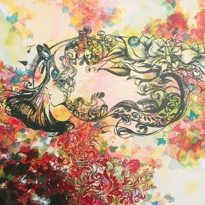 絵画 モダン アートパネル アート インテリア 雑貨 おしゃれ ロココロ 現代アート 植物 花 女性 画家 : SORA 作品 : 植物界の日常 obeolysco