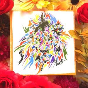 絵画 モダン アートパネル アート インテリア 雑貨 おしゃれ ロココロ 現代アート らいおん ライオン 動物 アニマル 画家 : nob 作品 : lion|obeolysco