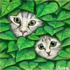 絵画 モダン アートパネル アート インテリア 雑貨 おしゃれ ロココロ パステル画 パステルアート パステル 猫 ネコ ねこ  画家 : ゆめの 作品 : 猫の親子 obeolysco