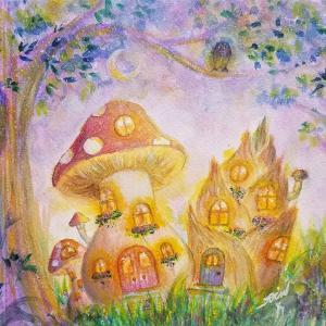 絵画 モダン アートパネル アート インテリア 雑貨 おしゃれ ロココロ 現代アート 月 森 きのこ キノコ 茸 画家 : Rin 作品 : 月あかりの森で obeolysco