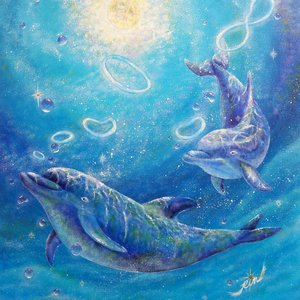 絵画 モダン アートパネル アート インテリア 雑貨 おしゃれ ロココロ 現代アート いるか イルカ 海豚 海 動物 アニマル 画家 : Rin 作品 : untitled obeolysco