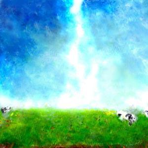 絵画 モダン アートパネル アート インテリア 雑貨 おしゃれ ロココロ 風景画 抽象画 牛 牧場 自然 緑 空 画家 : MP 作品 : ときはなつ obeolysco