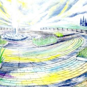 絵画 モダン アートパネル アート インテリア 雑貨 おしゃれ ロココロ 風景画 抽象画 空 画家 : MP 作品 : 夢の向こうへ obeolysco