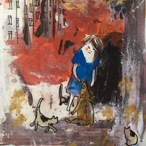絵画 モダン アートパネル アート インテリア 雑貨 おしゃれ ロココロ イラスト 画家 : mycof  作品 : まだ眠る団地に日が昇る ひとつの窓にひとつずつ obeolysco