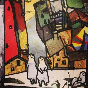 絵画 モダン アートパネル アート インテリア 雑貨 おしゃれ ロココロ イラスト 画家 : mycof  作品 : 高いところで明日を待ってる obeolysco