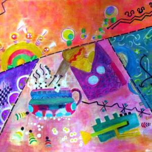 絵画 モダン アートパネル アート インテリア 雑貨 おしゃれ ロココロ イラスト 絵 現代アート 画家 : なったこ  作品 : n-4|obeolysco