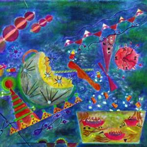 絵画 モダン アートパネル アート インテリア 雑貨 おしゃれ ロココロ イラスト 絵 現代アート 画家 : なったこ  作品 : n-5|obeolysco