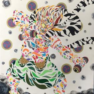 絵画 モダン アートパネル アート インテリア 雑貨 おしゃれ ロココロ 現代アート 縁起画 雷 神 日本 画家 : nob 作品 : 雷神|obeolysco