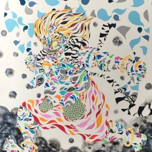 絵画 モダン アートパネル アート インテリア 雑貨 おしゃれ ロココロ 現代アート 縁起画 風 神 日本 画家 : nob 作品 : 風神|obeolysco