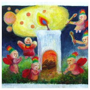 絵画 モダン アートパネル アート インテリア 雑貨 おしゃれ ロココロ イラスト 絵 現代アート 画家 : なったこ  作品 : 火のこどもたち|obeolysco