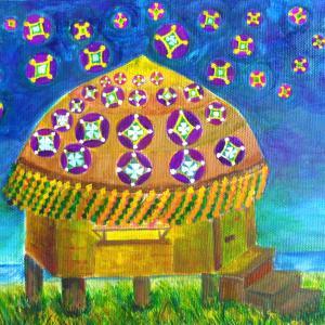 絵画 モダン アートパネル アート インテリア 雑貨 おしゃれ ロココロ イラスト 絵 現代アート 画家 : なったこ  作品 : 星の降る家|obeolysco