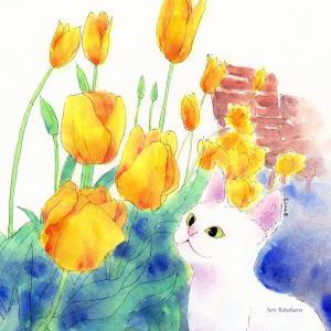 絵画 モダン アートパネル アート インテリア 雑貨 おしゃれ ロココロ 創作絵画 ねこ ネコ 猫 画家 : 北原 千 作品 : チューリップでお花見|obeolysco
