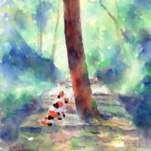 絵画 モダン アートパネル アート インテリア 雑貨 おしゃれ ロココロ 創作絵画 ねこ ネコ 猫 画家 : 北原 千 作品 : 道の真ん中やで。きみ|obeolysco