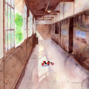 絵画 モダン アートパネル アート インテリア 雑貨 おしゃれ ロココロ 創作絵画 ねこ ネコ 猫 画家 : 北原 千 作品 : 廊下と猫|obeolysco