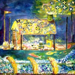 絵画 モダン アートパネル アート インテリア 雑貨 おしゃれ ロココロ イラスト 絵 現代アート 画家 : なったこ  作品 : 星を作る船|obeolysco
