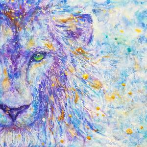 絵画 モダン アートパネル アート インテリア 雑貨 おしゃれ ロココロ 現代アート 獅子 ライオン らいおん 動物 アニマル 画家 : Rin 作品 : 誓い obeolysco